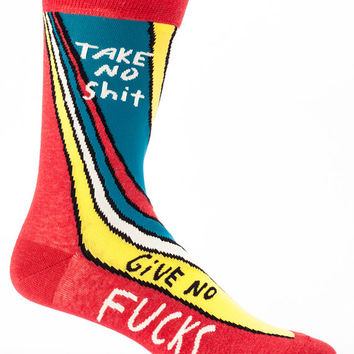 Father's Day Gifts / Men's Crew Socks - Take No Shit, Give No F***  Funny Socks, Quirky, Novelty Socks, Gift