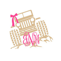 Preppy Jeep on Rocks Monogram Decal | Monogrammed Jeep Decal | Preppy Jeep Decal | Jeep Girl Decal | Yeti Decal | Macbook Decal | Car Decal