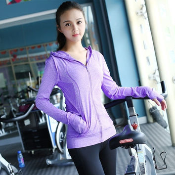 Women Quick Dry High Sports Running Shirts 2015 New Arrival Women Casual Fitness Sports Yoga Long Sleeves Shirts = 1714513732