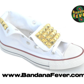 Bandana Fever Custom Studded White Converse All-Star Chuck Taylor Hi Top Big Gold Pyramid Studs Tongues