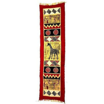 Vertical Red Giraffe and Dancers Batik Wall Hanging