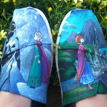 Hand Painted Shoes Custom TOMS Royal Princess Themed New Wearable Art Custom Shoes Customized Kicks Geek Gift Ideas Nerdy Fashion Arendelle
