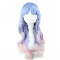 MapofBeauty Harajuku Style Mixed Light Blue/ Pink Long Natural Curly Cosplay Wig