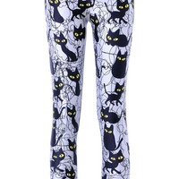 BadAssLeggings Women's Black Cat Leggings Medium