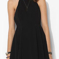 Black Halter Neckline Criss Cross Back Pleated Chiffon Dress