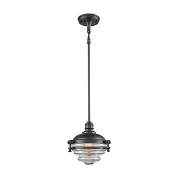 16081/1 Riley 1 Light Pendant In Oil Rubbed Bronze With Clear Glass