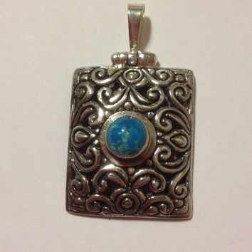 Carolyn Pollack Turquoise Pendant Sterling Silver 925 Enhancer Slide 4 Necklace Vintage Jewelry Southwestern Tribal Gift