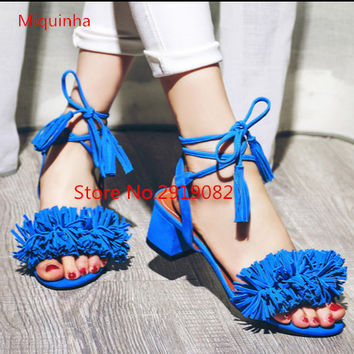 2017 Hot Fashion Suede Tassels Lacing Women Sandals Chunky Heels five colors Sweet Girls Shoes Size EU35~EU41