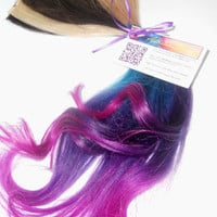Four Clip Ins -Pink/Blue/Purple/Turquoise Rainbow Extension - Tips Dip Dyed - Weft Clip Extensions - Ombre -18inch Brown