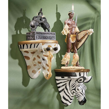Park Avenue Collection S/ Giraffe & Zebra Wall Shelves