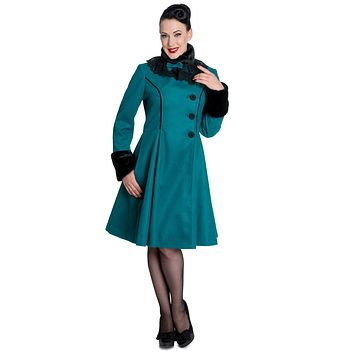 Hell Bunny Vintage Victorian Design Teal Green Angeline Winter Coat
