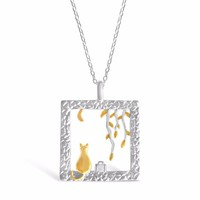 Sterling Silver Square 3D Miniature Animal Necklace