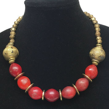 Red Tuscany Artisan Glass Beads Necklace with Vintage Gold Accents