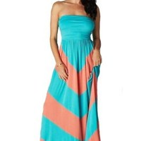 CYP Women's Sleeveless Summer Chevron Empire Maxi Dress Turquoise and Coral Medium
