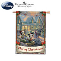 Disneys Mickey & Minnie Merry Christmas Decorative Flag With Thomas Kinkade Artwork