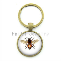 Cute insect jewelry exquisite popular bee key chain round glass dome high quality alloy keychain vintage lovely bee gift KC182