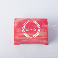 Rustic wood box engagement box large keepsake box monogram keepsake box baby memory box wedding ring box keepsake wood box laurel wreath box
