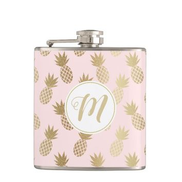 Gold Pineapple Pattern Flask