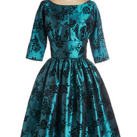 ModCloth Vintage Inspired Long 3 Fit & Flare Posh at the Party Dress in Teal