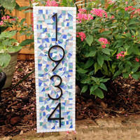 Outdoor Mosaic Address Sign in Aqua, Blue, White