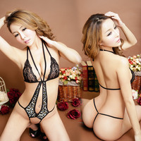 On Sale Cute Hot Deal Black Lace Leopard Print Sexy One-piece Exotic Lingerie [4933174916]