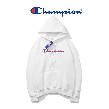Champion 2018 winter men and women long sleeve plus velvet hooded pullover sweater White+purple letter