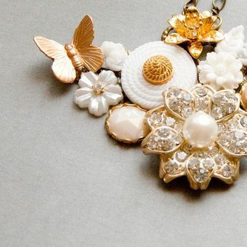 White Vintage Collage Necklace by lonkoosh on Etsy