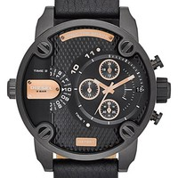 Men's DIESEL 'Little Daddy' Chronograph Leather Strap Watch, 51mm