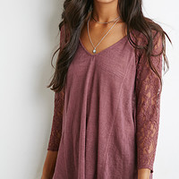 Lace-Paneled Slub Knit Top