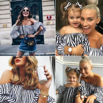 US Mother and Daughter Blouse Striped Matching Mom Girls Tops Family Top