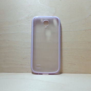 Samsung Galaxy S4 (Mini) Case Silicone Bumper and Translucent Frosted Hard Plastic Back - Lilac
