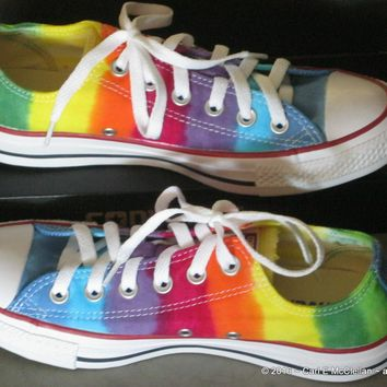 men sz 5 5 rainbow hand dyed converse sneakers lo top women sz 7 5