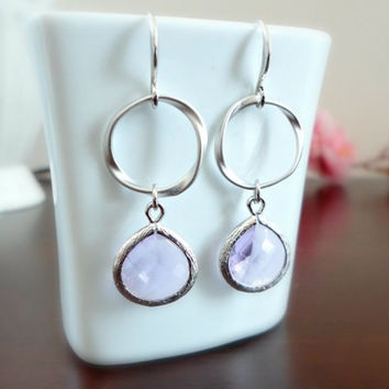 Lavender earrings, Forever love earrings, Wedding gift, Bridesmaid earrings, Prom earrings, Simple everyday earrings