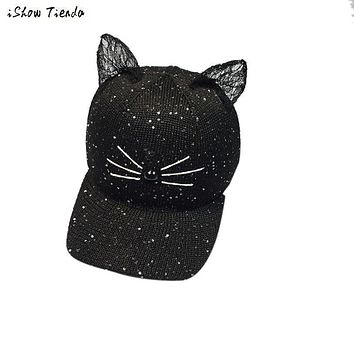 Women Summer Hats Cat Ear Pattern Cat Ear Pattern knitting Hoeden Voor Meisjes