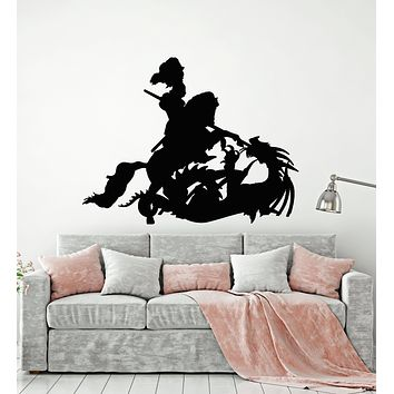Vinyl Wall Decal Dragon Knight Horse Spear Boys Room Fantasy Art Stickers Mural (g717)