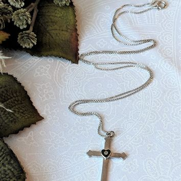 Antique/Vintage Sterling Cross w/Onyx Heart & Diamond Center Pendant Necklace