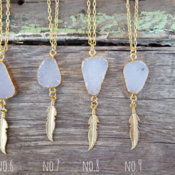 Druzy Feather Necklace | Dainty Druzy Pendant Necklace | Layering Necklace | Boho Jewelry | Feather Charm Necklace | Gold Druzy Necklace
