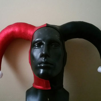 SALE ITEM RTS Version 1: Harley Quinn Inspired Metallic Red and Black Stretch Jester Hat One Size