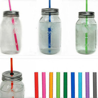 Five Large Mason Jar Tumblers - To-Go Canning Jar Travel Cups - You Pick Straw Colors