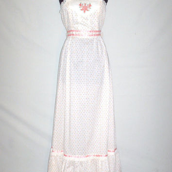 Vintage 1970s Candi Jones Floral Baby Doll Maxi Dress