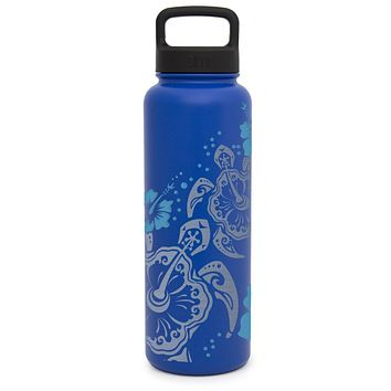 Premium Stainless Steel Water Bottle, Hibiscus Turtle Design, Extra Lid, 40oz (Twilight Blue)