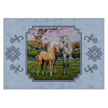 Quarter Horse Mare and Foal Blue Cutting Boards