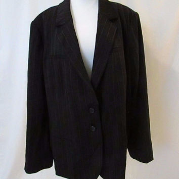 Lane Bryant Pinstriped Blazer Women's 24 Single Breasted 2 Button Jacket NEW