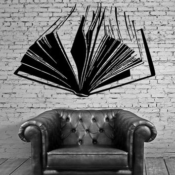 Open Book Literature Read Fiction Wall Decor Mural Vinyl Decal Art Sticker M559