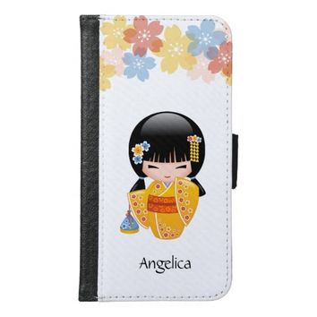 Summer Kokeshi Doll - Yellow Kimono Geisha Girl Wallet Phone Case For Samsung Galaxy S6