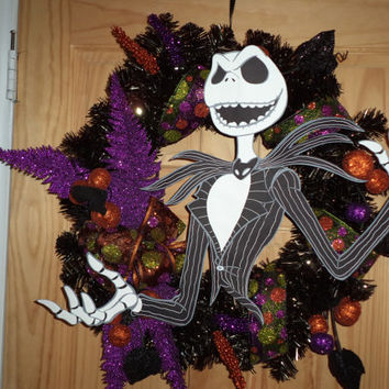 Jack Skellington Halloween Wreath by SuspendedAnimationNY on Etsy