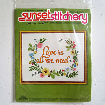 Vintage 1970s Crewel Embroidery Kit NOS Sunset Stitchery Love is all We Need Floral 70s DIY Wall Hangings Kit