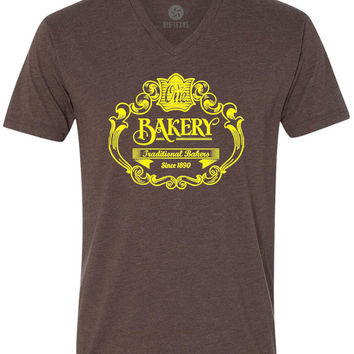 Vintage Bakery Sign (Yellow) Short-Sleeve V-Neck T-Shirt