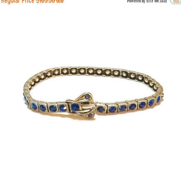 Ten% Discount Art Deco Bracelet, Sterling Silver and Blue Rhinestones, Buckle and Line Bracelet, 1920s, Patent Number, Wedding Jewelry, Vint