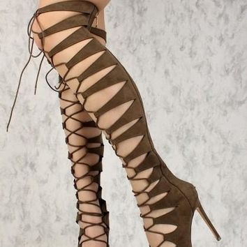 Strappy High Heel Olive Green